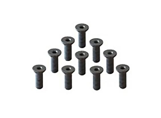 Screw Flat Head Hex M2.6x8mm Machine Thread Steel Black (10pcs)