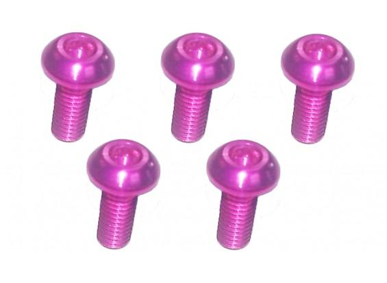 Screw Button Head Hex M3x8mm Machine Thread 7075 Aluminum Pink (5pcs)