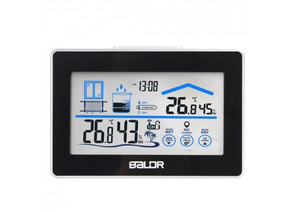 BALDR B0317 Weather Station with Hygrometer Thermometer Clock Outdoor Sensor