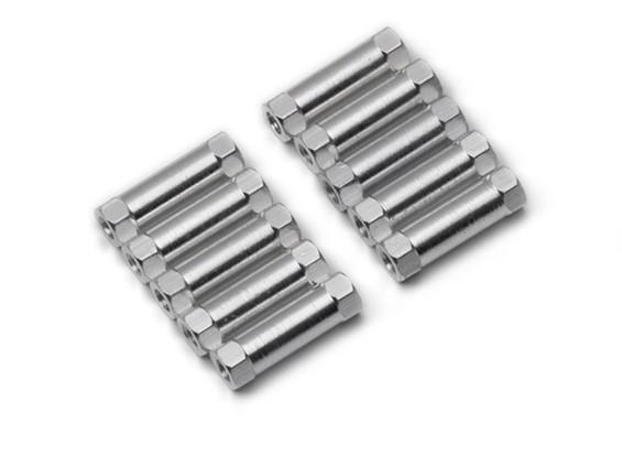 Leve de alumínio redonda Seção Spacer M3x17mm (prata) (10pcs)