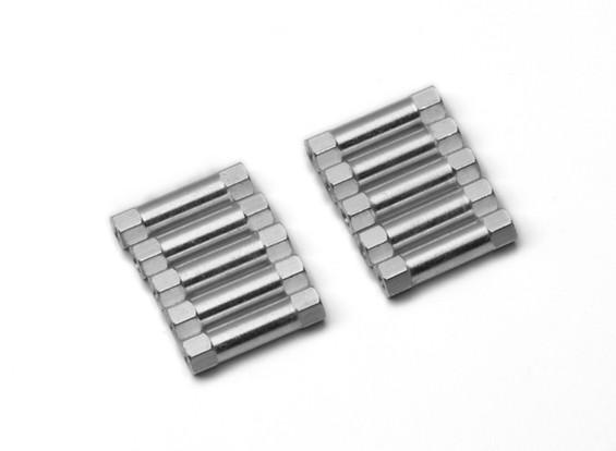 Leve de alumínio redonda Seção Spacer M3x20mm (prata) (10pcs)