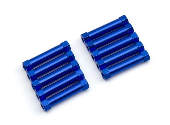 Leve de alumínio redonda Seção Spacer M3x24mm (azul) (10pcs)