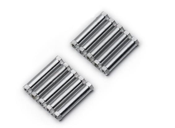 Leve de alumínio redonda Seção Spacer M3x25mm (prata) (10pcs)