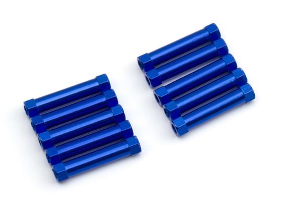 Leve de alumínio redonda Seção Spacer M3x25mm (azul) (10pcs)