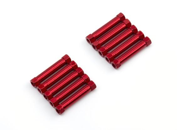Leve de alumínio redonda Seção Spacer M3x26mm (vermelho) (10pcs)