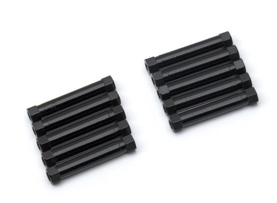 Leve de alumínio redonda Seção Spacer M3x29mm (Black) (10pcs)