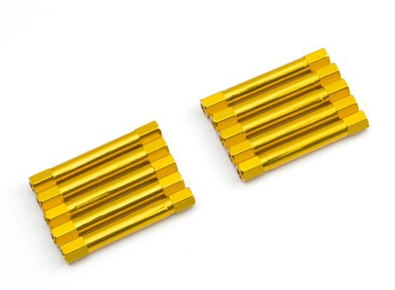 Leve de alumínio redonda Seção Spacer M3x37mm (ouro) (10pcs)