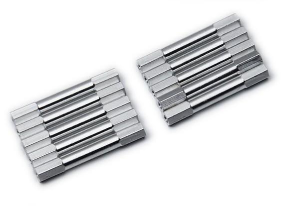 Leve de alumínio redonda Seção Spacer M3x38mm (prata) (10pcs)
