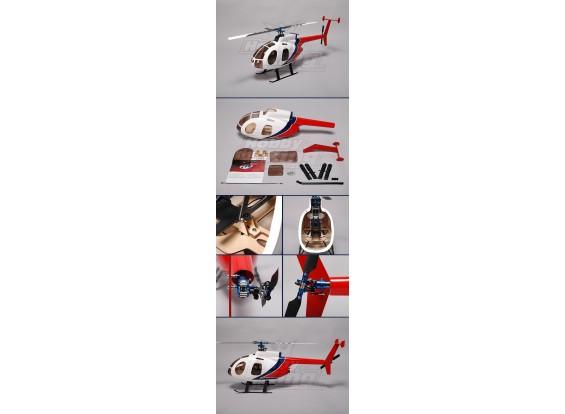 Hughes MD500 Fiberglass Fuselagem de 450 tamanho heli