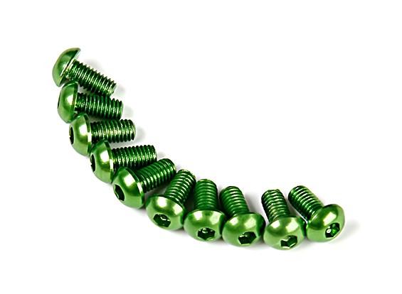 7075 Alu. cabeça M3 Rodada parafuso verde 6 milímetros