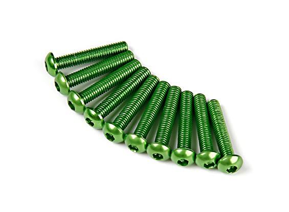 7075 Alu. M3 de cabeça redonda de rosca 16 milímetros verde