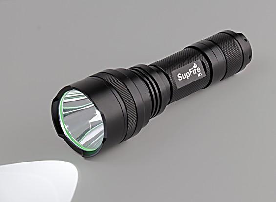 caixa branca Strap lanterna mão M1-XPE (com suporte de bateria AAA)