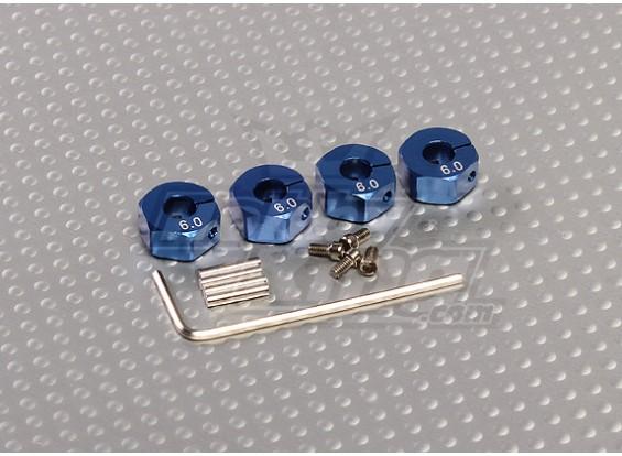 Adaptadores de rodas de alumínio azul com parafusos de fixação - 6 milímetros (12 milímetros Hex)