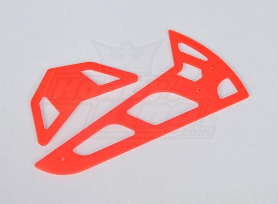 Neon Red Fiberglass horizontal / vertical Fins Trex 600 Nitro / Eléctrico
