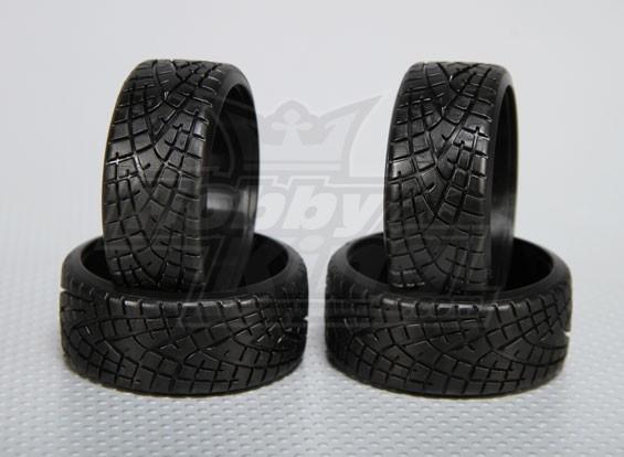Escala 1:10 plástico rígido tração do pneu w / piso RC 26 milímetros Car (4pcs / set)