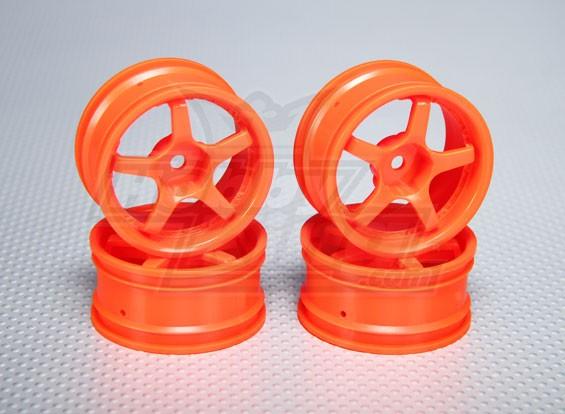 Escala 1:10 conjunto de rodas (4pcs) Laranja 5 raios RC 26 milímetros Car