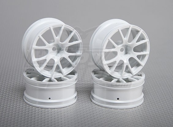 01:10 de rodas Scale Set (4pcs) Branco 12-Spoke 26 milímetros RC Car (3mm offset)