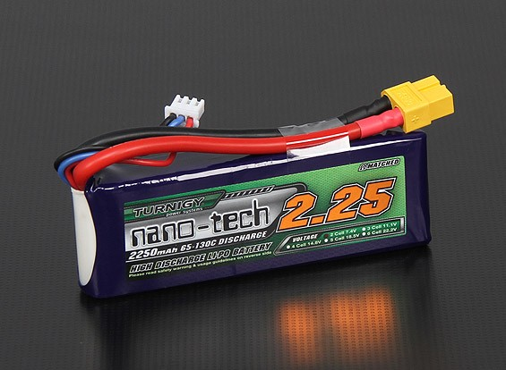 Turnigy nano-tecnologia 2250mah 2S 65 ~ 130C Lipo pacote