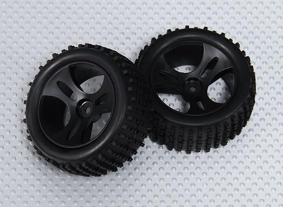 Roda / pneu completo (2pcs / bag) - 1/18 4WD RTR Corrida Buggy