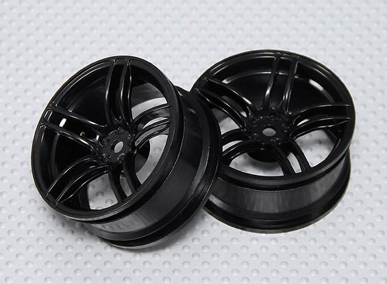 Escala 1:10 conjunto de rodas (2pcs) Black Dividir 5 raios RC 26 milímetros Car (3mm Offset)