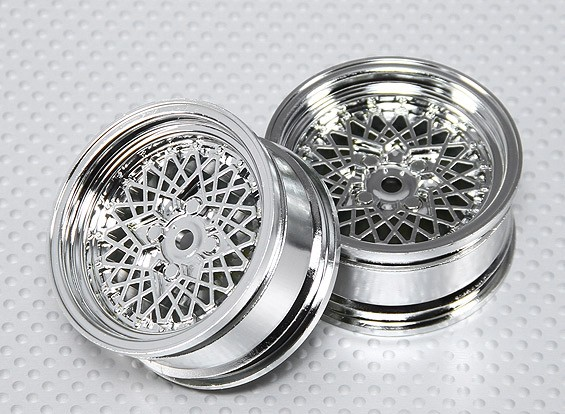 Escala 1:10 conjunto de rodas (2pcs) Chrome 'Fio Quente' RC 26 milímetros Car (No Offset)