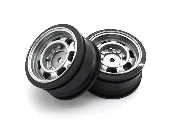 01:10 de rodas Scale Set (2pcs) Clássico Prata Estilo RC 26 milímetros Car (sem deslocamento)