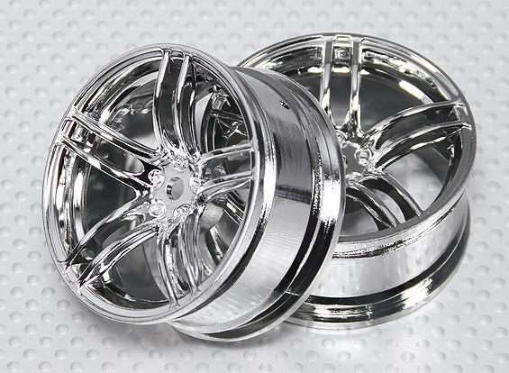 Escala 1:10 conjunto de rodas (2pcs) Chrome Dividir 5 raios RC 26 milímetros Car (3mm offset)