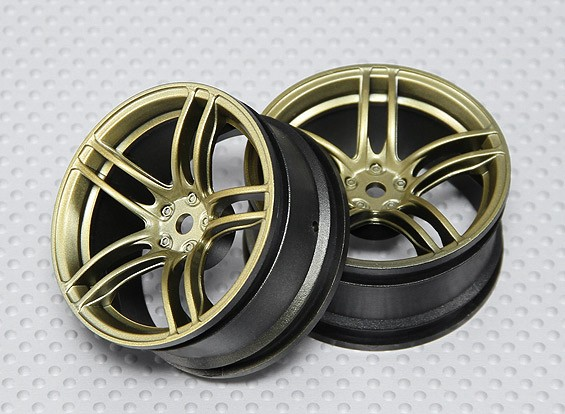 Escala 1:10 conjunto de rodas (2pcs) Gold Dividir 5 raios RC 26 milímetros Car (3mm Offset)