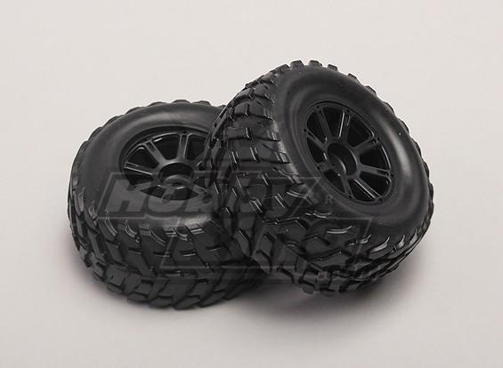 Rodas / Pneus (2pcs / bag) - 1/18 4WD RTR Curso de curta duração Truck