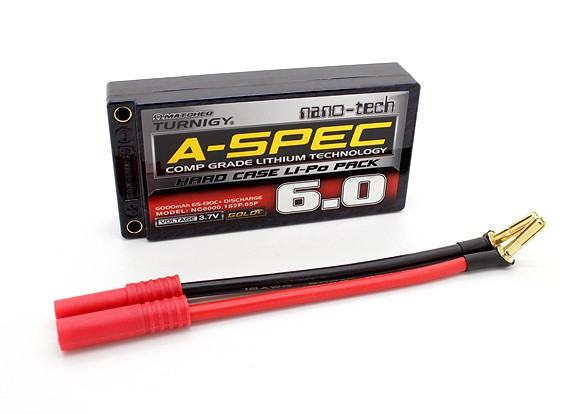 Turnigy nano-tecnologia A-SPEC 6000mAh 1S 65 ~ 130C Hardcase Lipo pacote
