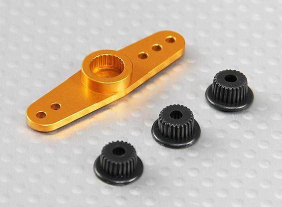 Universal de alumínio de duas vias Servo Arm - JR, Futaba & HITEC (dourado)