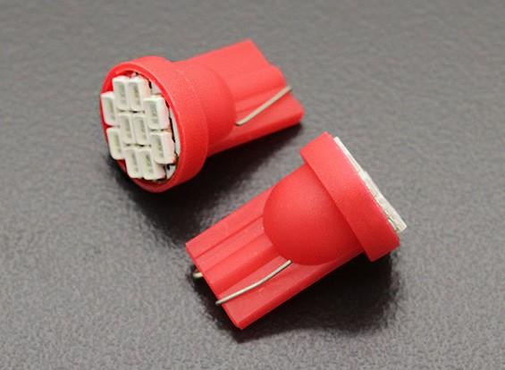 LED milho luz 12V 1.5W (10 LED) - Vermelho (2pcs)