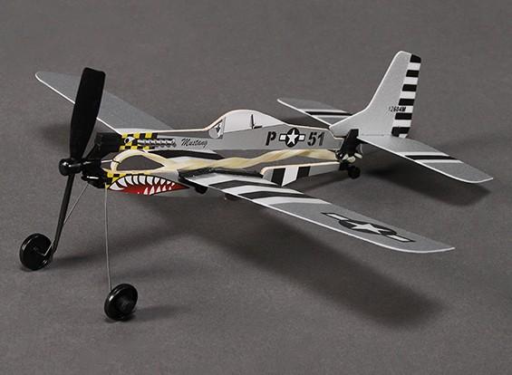 Rubber Band Alimentado Freeflight P-51 Mustang 288 milímetros Span