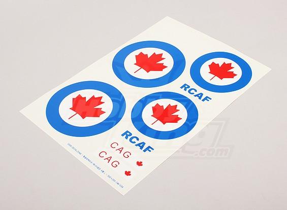 Escala da folha National Air Force Insignia Decal - Canadá (grande)