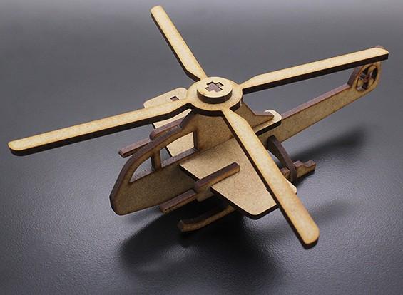 Helicóptero militar Modelo de madeira cortado a laser (KIT)