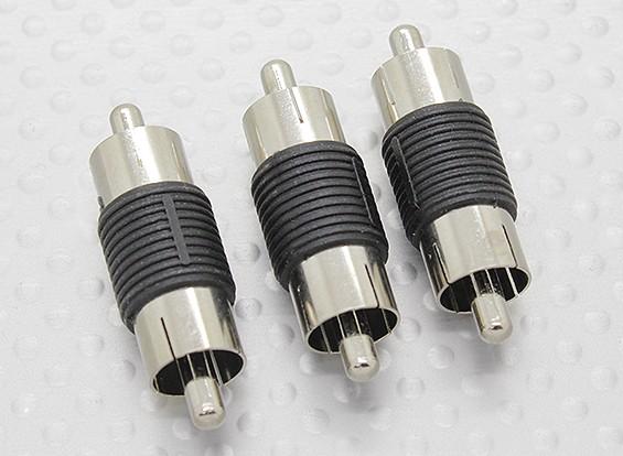 RCA macho para RCA macho A / V acoplador adaptador (3pc)