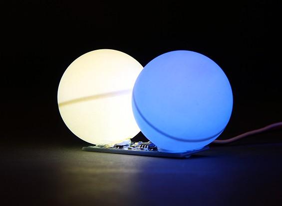 Duplo LED PCB Strobe alternada azul e branco 3,3 ~ 6.0V com duplo difusor Bola