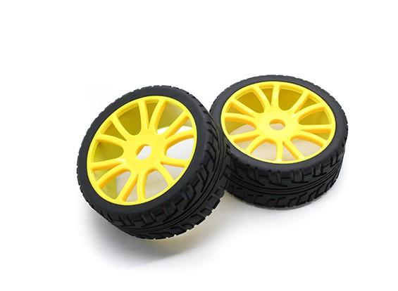 HobbyKing 1/8 Scale Roda RX Rally Y-Spoke / Pneu 17 milímetros Hex (amarelo)