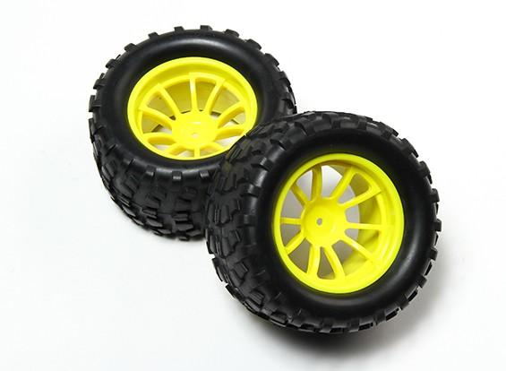HobbyKing® 1/10 Monster Truck 10 raios fluorescente amarela Roda & Block Pattern pneu (2pc)
