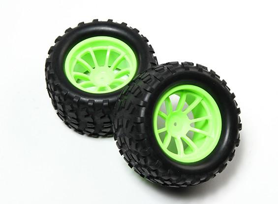 HobbyKing® 1/10 Monster Truck 10 raios fluorescente verde roda & Block Pattern pneu (2pc)