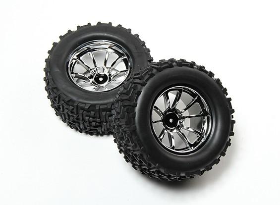 HobbyKing® 1/10 Monster Truck 10 raios Chrome roda & do pneu I-Padrão 12 milímetros Hex (2pc)