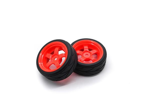 HobbyKing 1/10 roda / pneu Set 5 raios direcional Passo (vermelho) RC 26 milímetros carro (2pcs)
