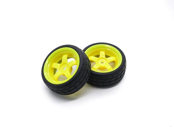 HobbyKing 1/10 roda / pneu Set VTC 5 raios (amarelo) RC 26 milímetros carro (2pcs)
