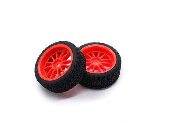 HobbyKing 1/10 roda / pneu Set AF Rally Rally falou traseiro (vermelho) RC 26 milímetros carro (2pcs)