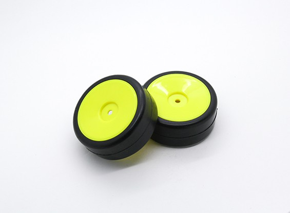 HobbyKing 1/10 roda / pneu Set Rally prato pneus slick (amarelo) RC 26 milímetros carro (2pcs)