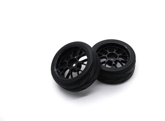 HobbyKing 1/10 roda / pneu Set VTC Y Raio (Black) RC 26 milímetros carro (2pcs)