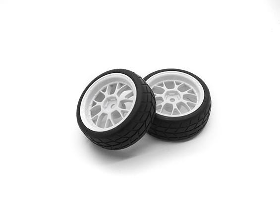 HobbyKing 1/10 roda / pneu Set VTC Y falou Traseira (Branco) RC 26 milímetros carro (2pcs)