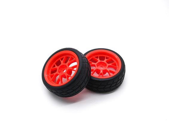 HobbyKing 1/10 roda / pneu Set VTC Y falou traseiro (vermelho) RC 26 milímetros carro (2pcs)