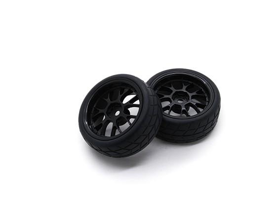 HobbyKing 1/10 roda / pneu Set VTC Y falou traseira (preto) RC 26 milímetros carro (2pcs)