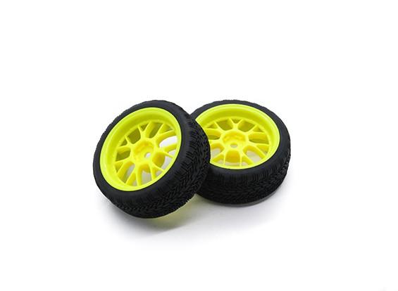 HobbyKing 1/10 roda / pneu Set AF Rally Y-Spoke (amarelo) RC 26 milímetros carro (2pcs)